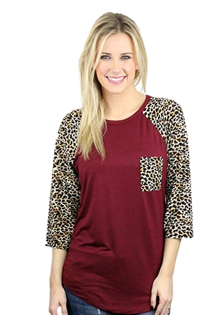 Cheetah-Maroon Pocket