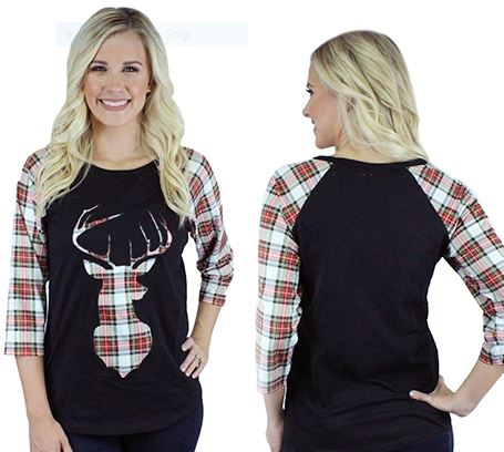 Deer Head Plaid Raglan