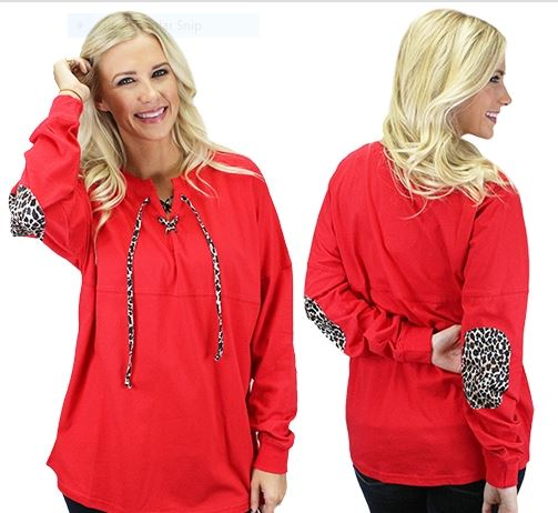 Cheetah Jerzee Lace Up - Red
